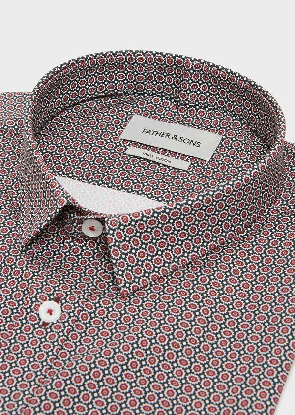 Chemise sport Slim en popeline de coton bleu à motif fantaisie - Father and Sons 31383