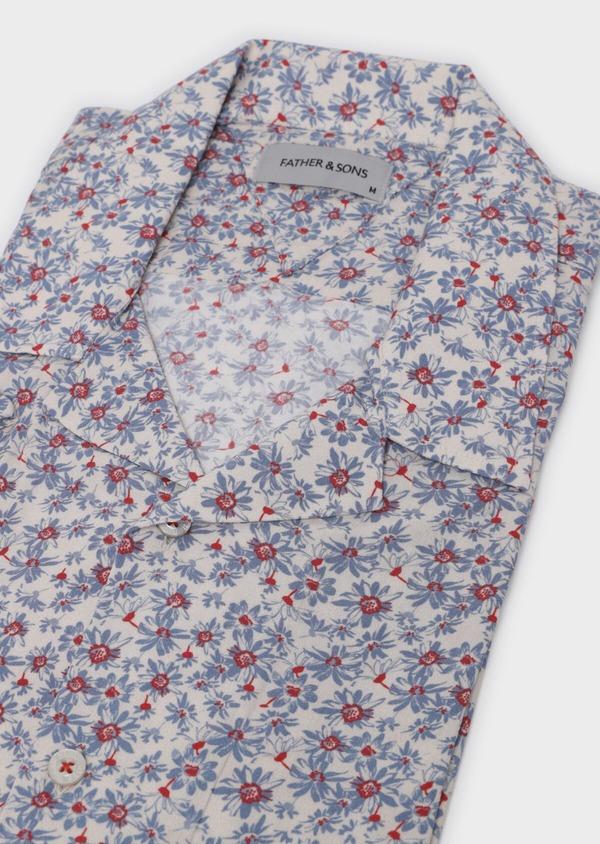 Chemise manches courtes Slim beige à motif fleuri - Father and Sons 34448