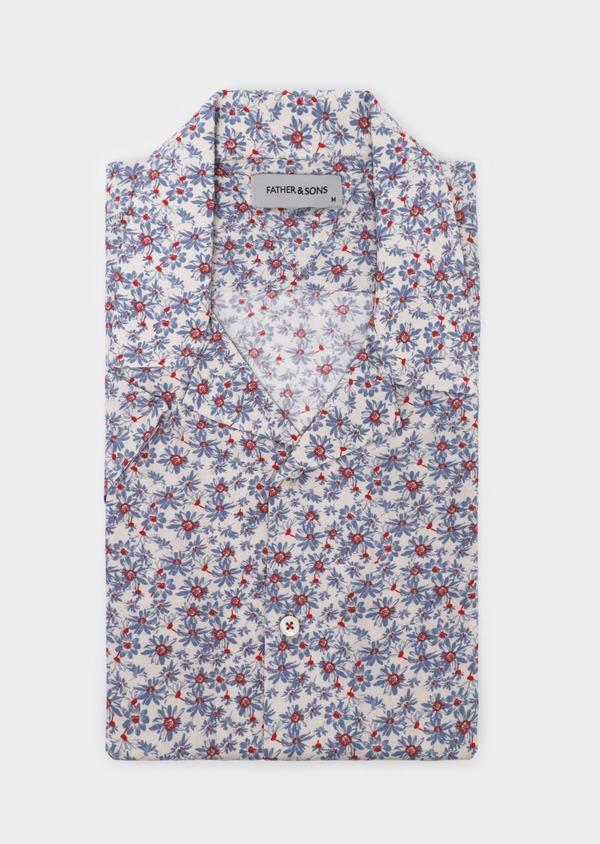 Chemise manches courtes Slim beige à motif fleuri - Father and Sons 34446