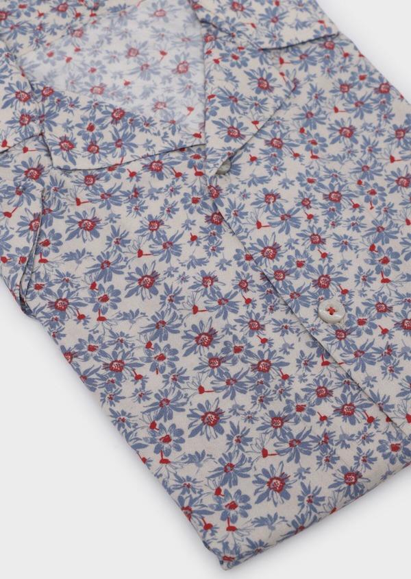 Chemise manches courtes Slim beige à motif fleuri - Father and Sons 34449