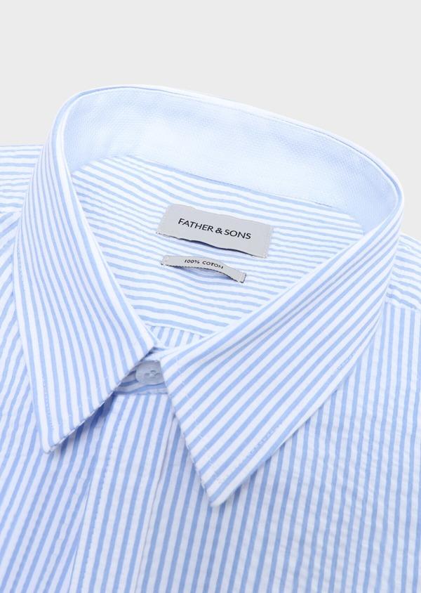 Chemise sport Slim en popeline de coton bleu ciel à rayures - Father and Sons 32580