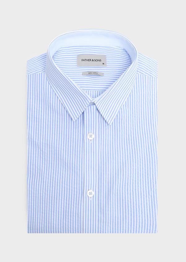 Chemise sport Slim en popeline de coton bleu ciel à rayures - Father and Sons 32578