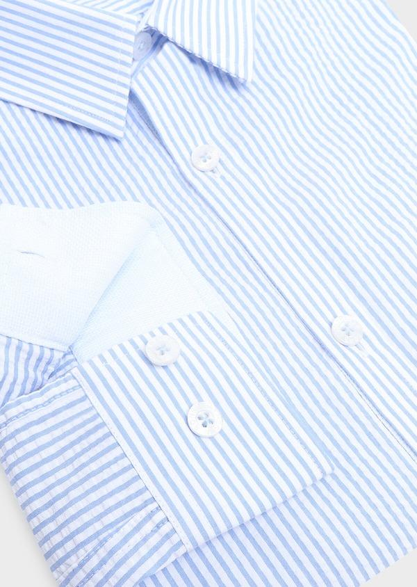 Chemise sport Slim en popeline de coton bleu ciel à rayures - Father and Sons 32581