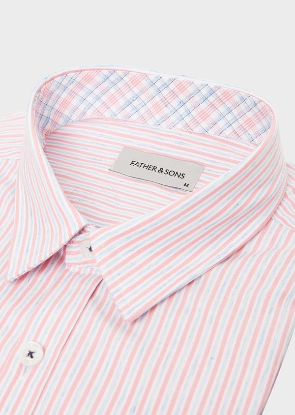 Chemise sport Slim en popeline de coton mélangé à rayures rose et bleu - Father and Sons 40544