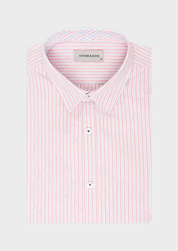 Chemise sport Slim en popeline de coton mélangé à rayures rose et bleu - Father and Sons 40542