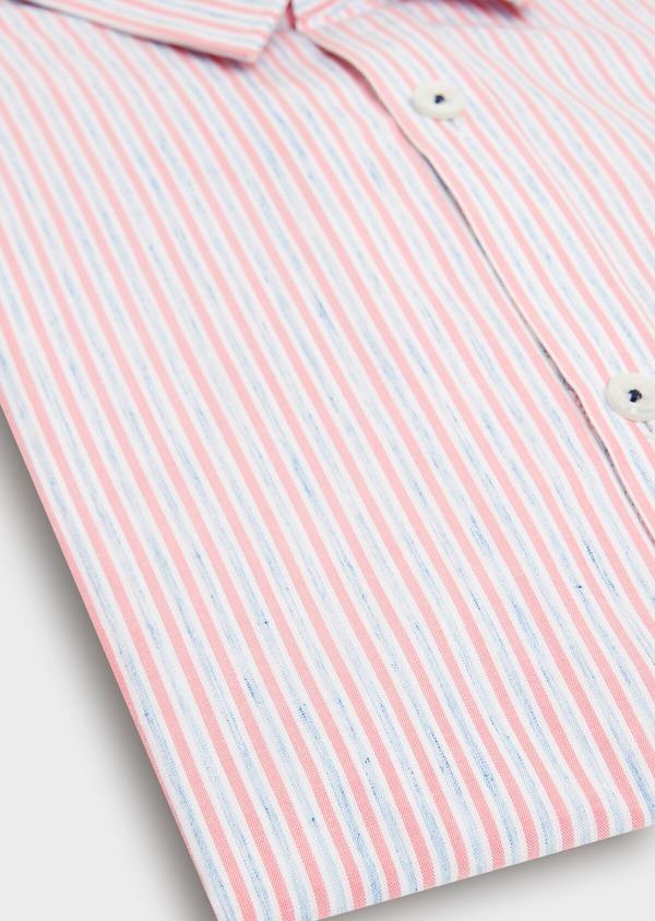 Chemise sport Slim en popeline de coton mélangé à rayures rose et bleu - Father and Sons 40545