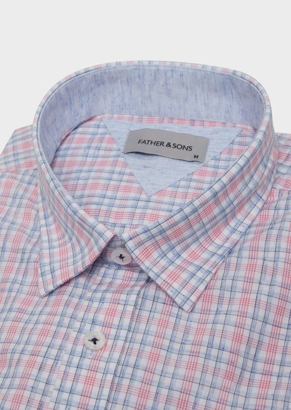 Chemise manches courtes Slim en popeline de coton mélangé rose à rayures - Father and Sons 34206