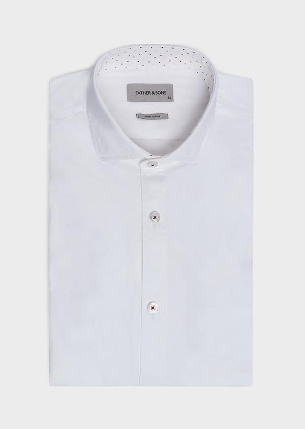 Chemise sport Slim en popeline de coton uni blanc - Father and Sons 32586