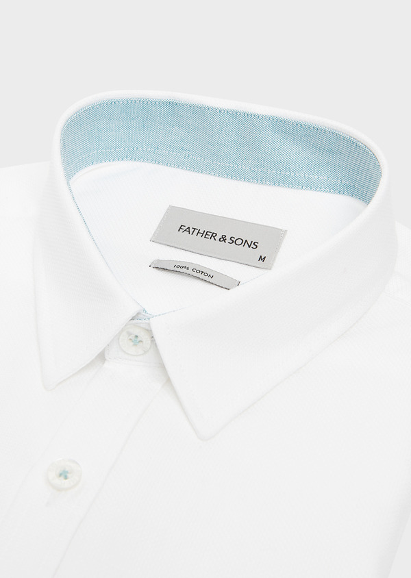 Chemise sport Slim en coton façonné blanc uni - Father and Sons 32612