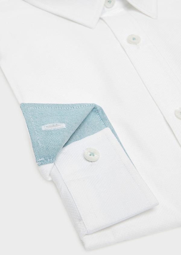 Chemise sport Slim en coton façonné blanc uni - Father and Sons 32613