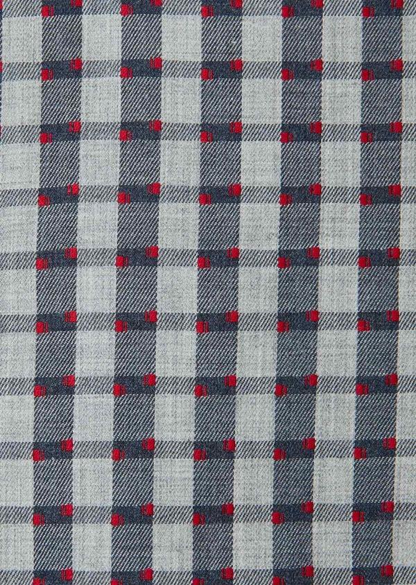 Chemise sport Regular en coton gris foncé à carreaux et pois rouges - Father and Sons 30461