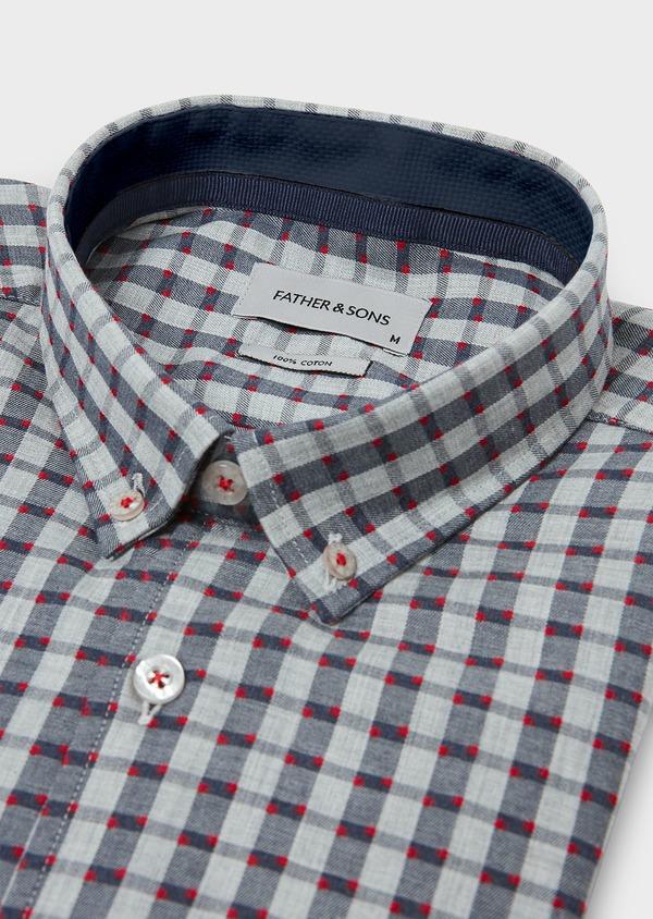 Chemise sport Regular en coton gris foncé à carreaux et pois rouges - Father and Sons 30462