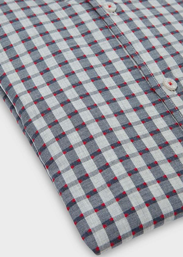 Chemise sport Regular en coton gris foncé à carreaux et pois rouges - Father and Sons 30463