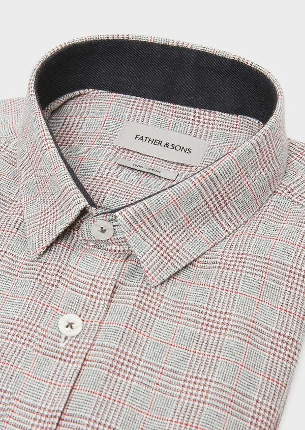 Chemise sport Slim en coton gris foncé à motif Prince-de-Galles rouge - Father and Sons 31319