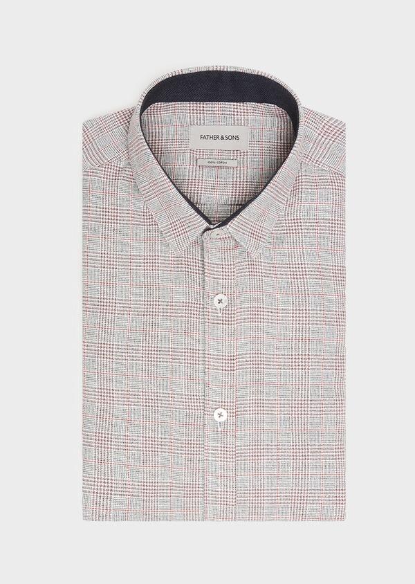 Chemise sport Slim en coton gris foncé à motif Prince-de-Galles rouge - Father and Sons 31317