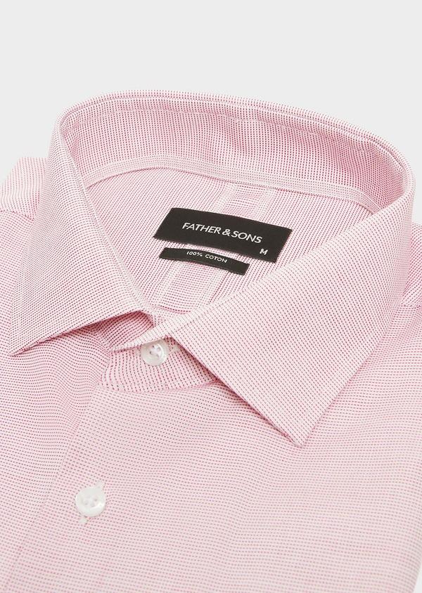 Chemise habillée Slim en coton façonné à carreaux rose - Father and Sons 32332