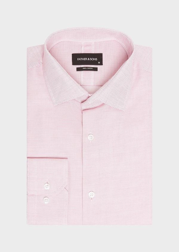 Chemise habillée Slim en coton façonné à carreaux rose - Father and Sons 32330