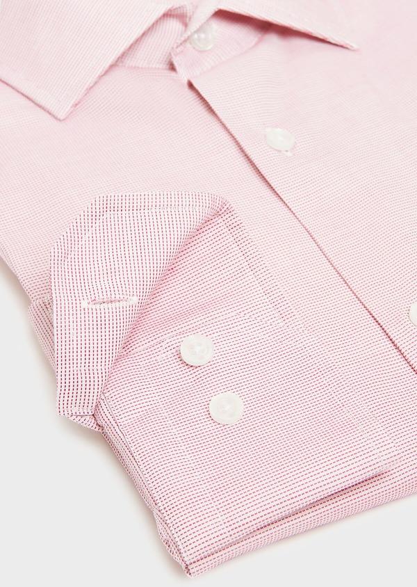 Chemise habillée Slim en coton façonné à carreaux rose - Father and Sons 32333