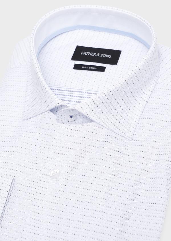 Chemise habillée Slim en coton Jacquard blanc à motif fantaisie - Father and Sons 32312