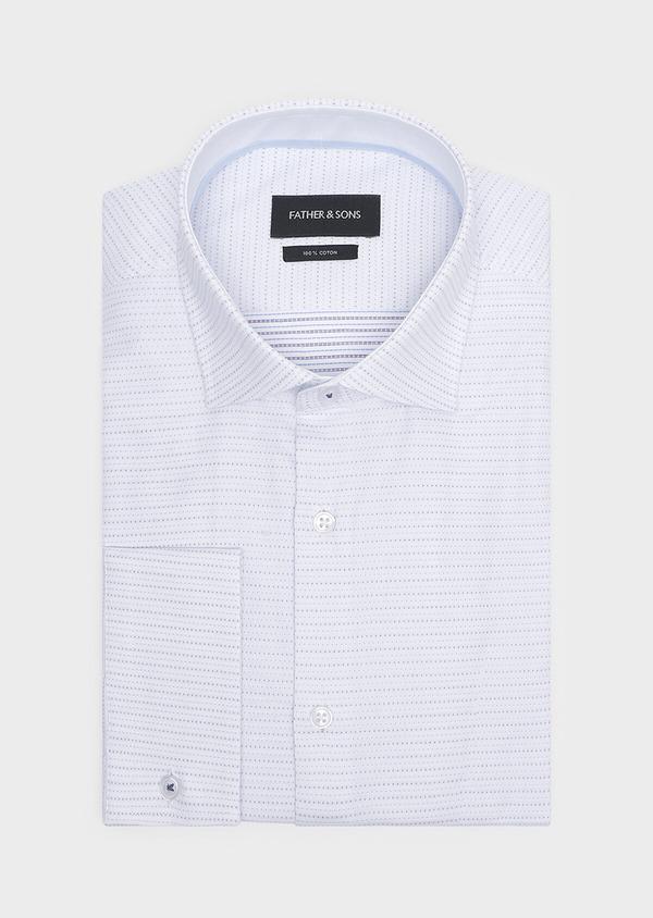 Chemise habillée Slim en coton Jacquard blanc à motif fantaisie - Father and Sons 32310