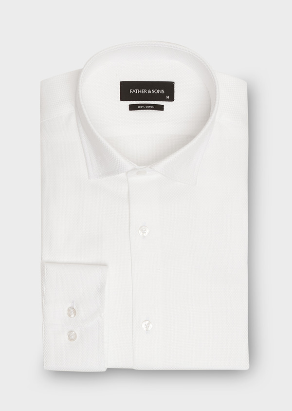 Chemise habillée Slim en popeline de coton blanc à motif fantaisie - Father and Sons 26221