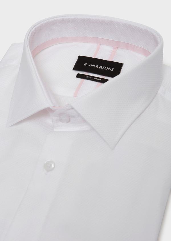 Chemise habillée Slim en coton façonné à motif fantaisie blanc - Father and Sons 31705