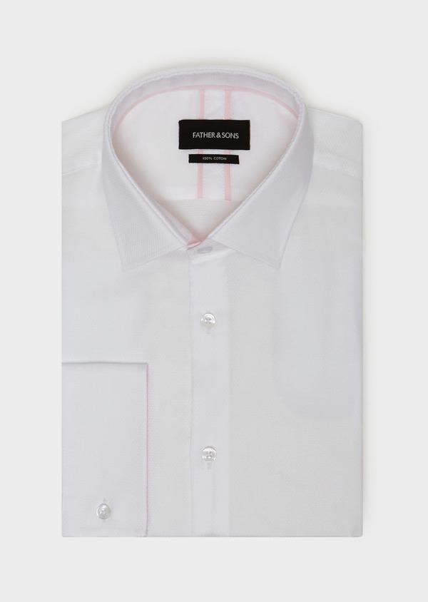 Chemise habillée Slim en coton façonné à motif fantaisie blanc - Father and Sons 31703