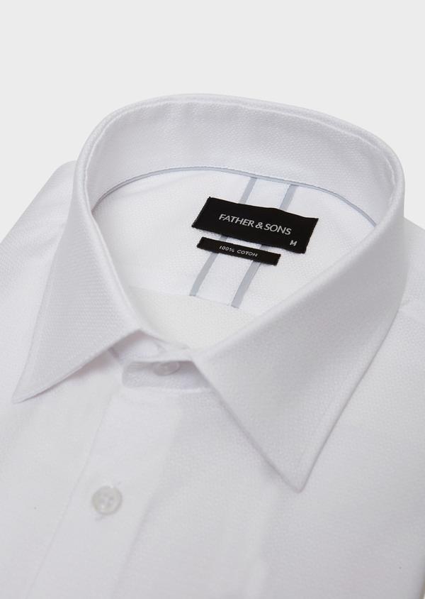 Chemise habillée Slim en coton façonné à motif fantaisie blanc - Father and Sons 31735