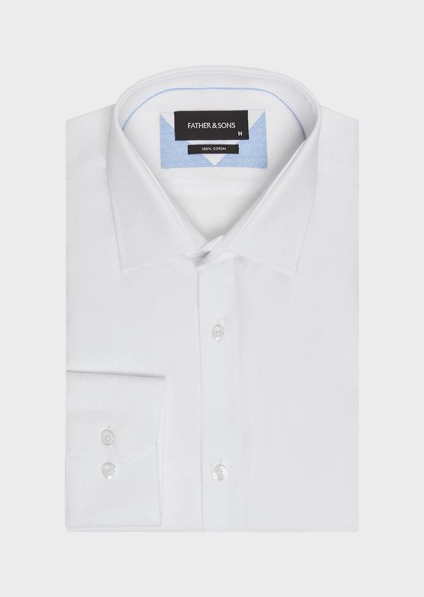 Chemise habillée Slim en coton façonné blanc à motif fantaisie ton-sur-ton - Father and Sons 32314