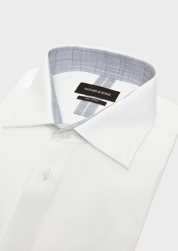 Chemise habillée Slim en coton façonné blanc à motif fantaisie blanc - Father and Sons 32320