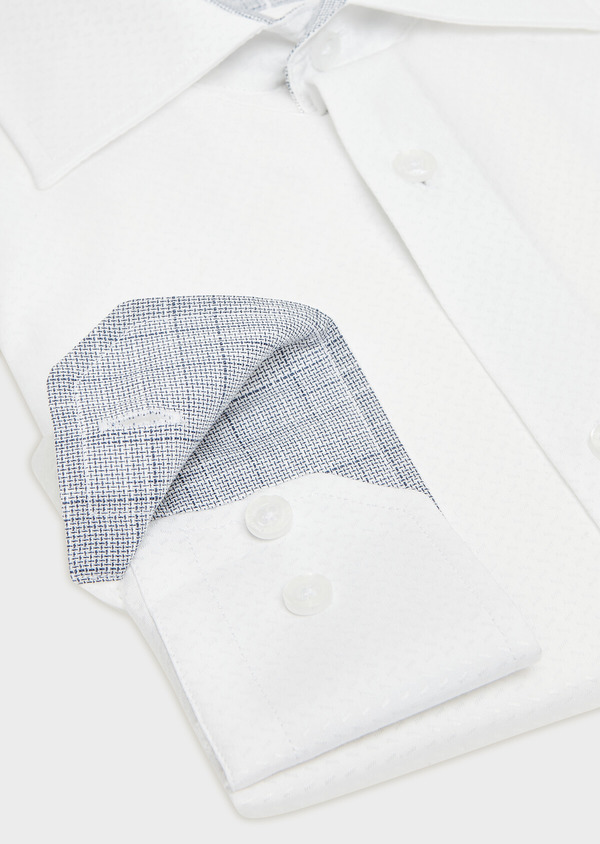 Chemise habillée Slim en coton façonné blanc à motif fantaisie blanc - Father and Sons 32321