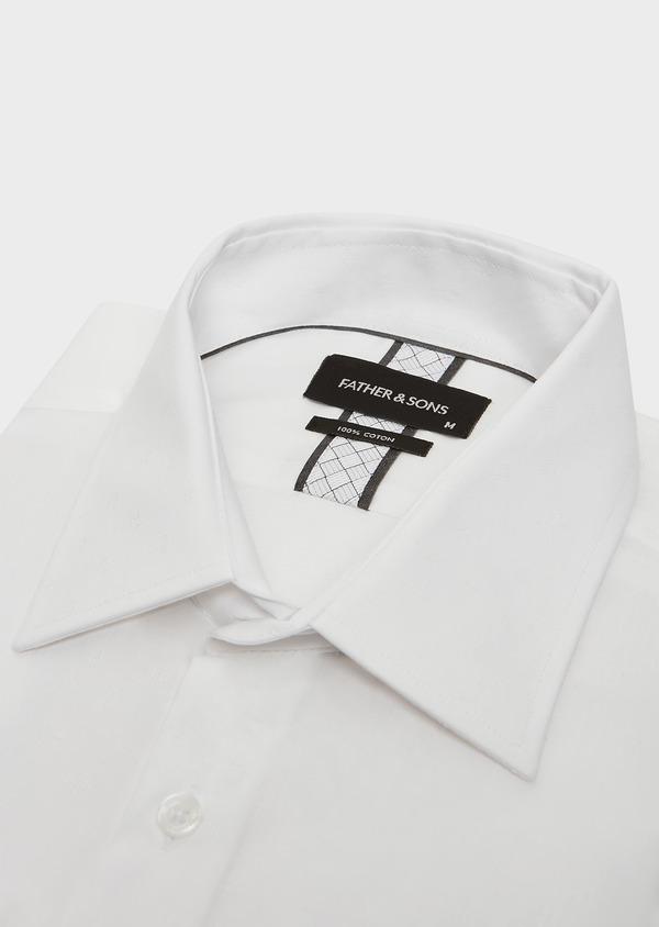 Chemise habillée Slim en popeline de coton blanc à motif fantaisie ton-sur-ton - Father and Sons 32364