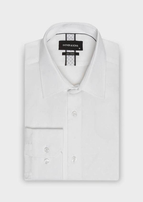 Chemise habillée Slim en popeline de coton blanc à motif fantaisie ton-sur-ton - Father and Sons 32362