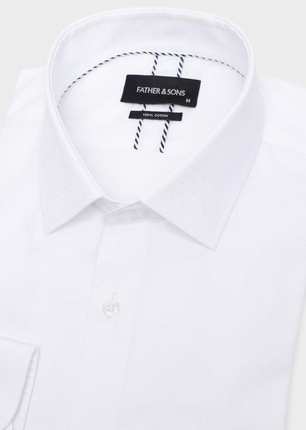 Chemise habillée Slim en coton façonné uni blanc à pois ton-sur-ton - Father and Sons 32452