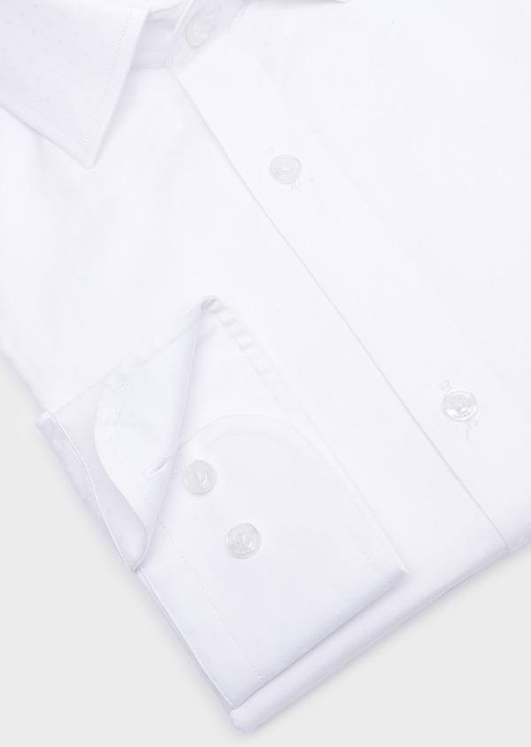Chemise habillée Slim en coton façonné uni blanc à pois ton-sur-ton - Father and Sons 32453
