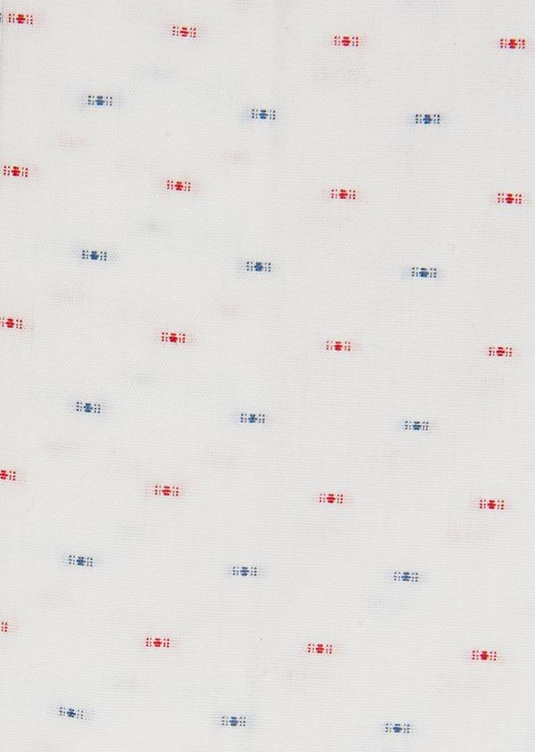 Chemise habillée Slim en coton Jacquard blanc à motif fantaisie bleu et rouge - Father and Sons 32455