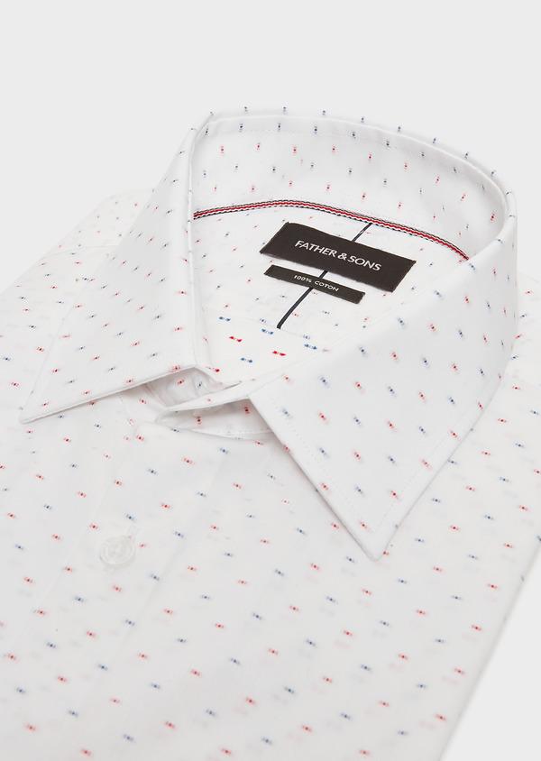 Chemise habillée Slim en coton Jacquard blanc à motif fantaisie bleu et rouge - Father and Sons 32456