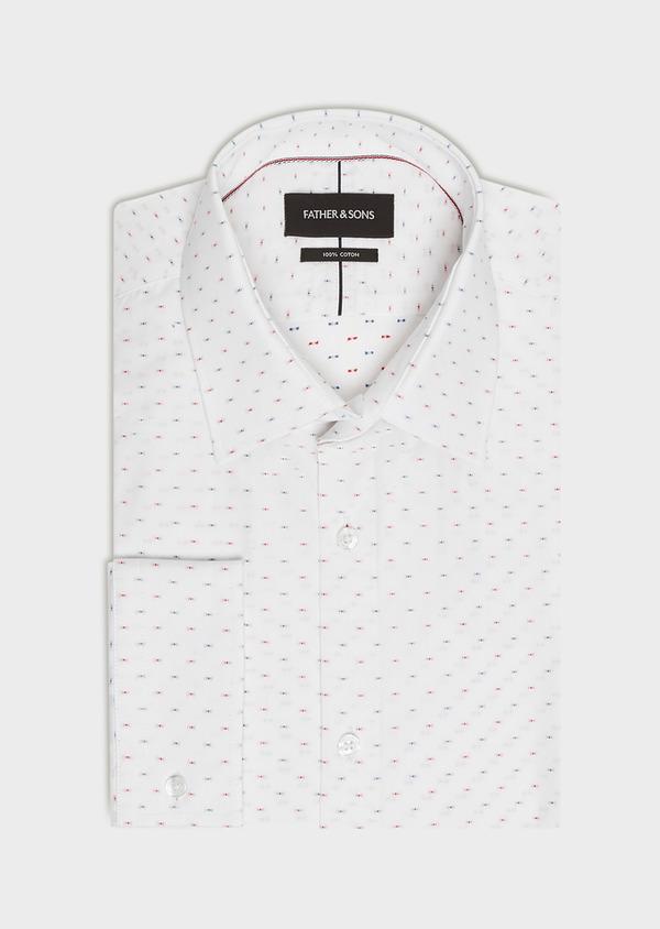 Chemise habillée Slim en coton Jacquard blanc à motif fantaisie bleu et rouge - Father and Sons 32454