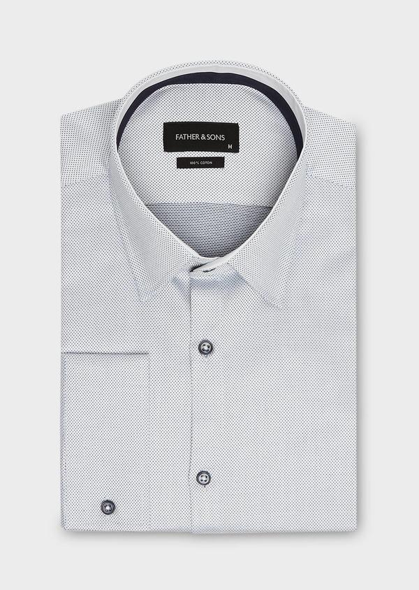 Chemise habillée Slim en coton Jacquard blanc à motif fantaisie bleu marine - Father and Sons 26101
