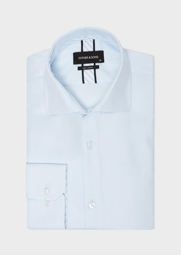 Chemise habillée Slim en coton façonné à motif fantaisie bleu ciel - Father and Sons 31753