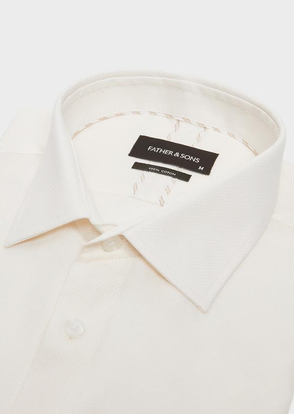 Chemise habillée Slim en coton façonné uni écru - Father and Sons 32396