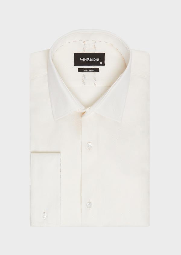 Chemise habillée Slim en coton façonné uni écru - Father and Sons 32394