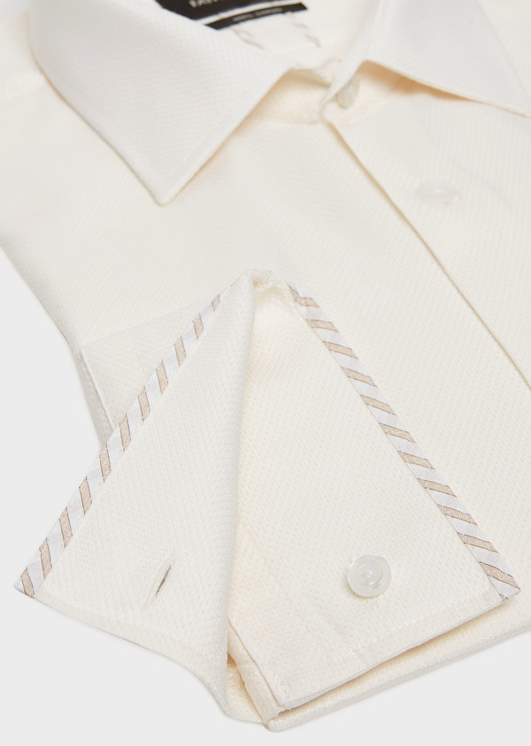 Chemise habillée Slim en coton façonné uni écru - Father and Sons 32397
