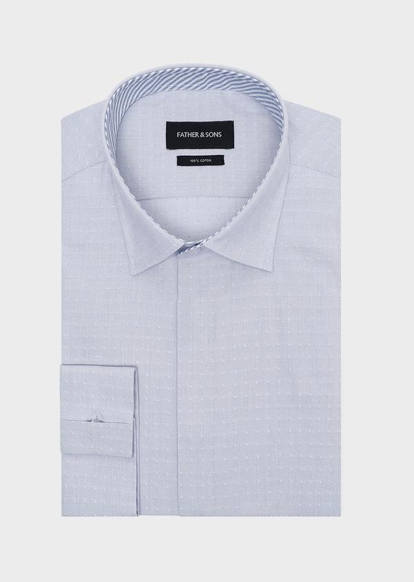 Chemise habillée Slim en popeline de coton bleu gris à motif fantaisie - Father and Sons 32282