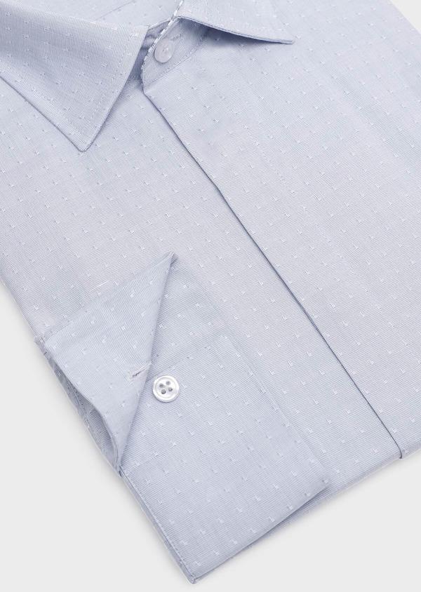 Chemise habillée Slim en popeline de coton bleu gris à motif fantaisie - Father and Sons 32285