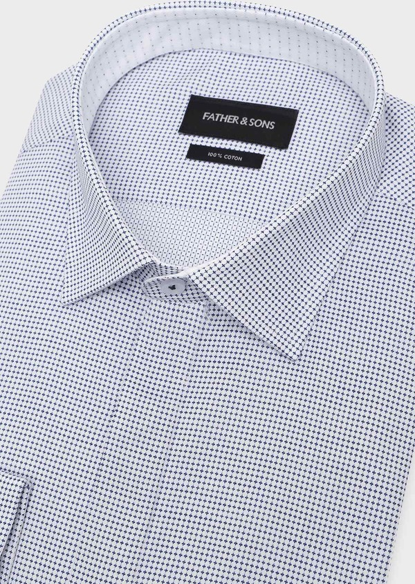 Chemise habillée Slim en coton Jacquard blanc à motif fantaisie bleu - Father and Sons 32304