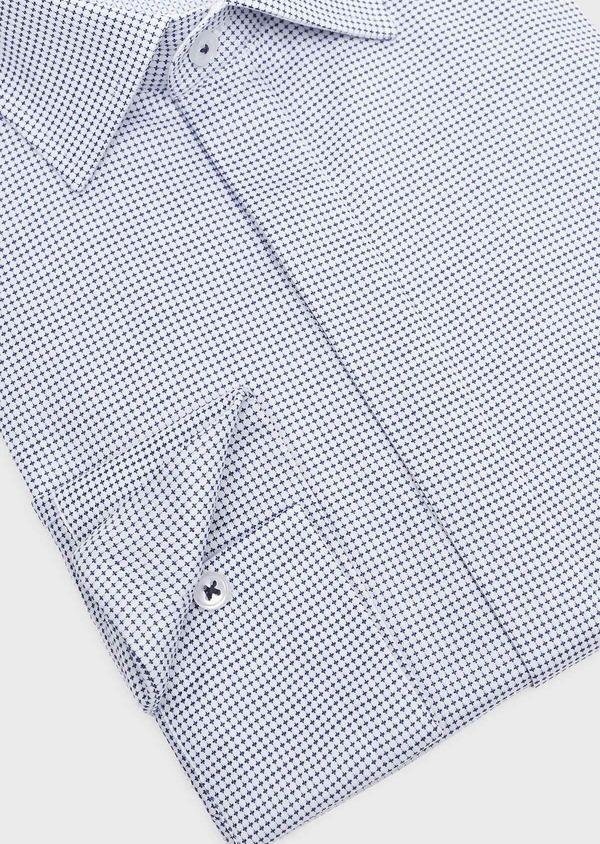 Chemise habillée Slim en coton Jacquard blanc à motif fantaisie bleu - Father and Sons 32305