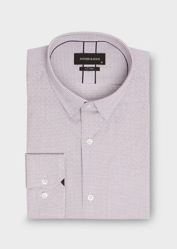 Chemise habillée Slim en popeline de coton violet à motif fantaisie - Father and Sons 26207