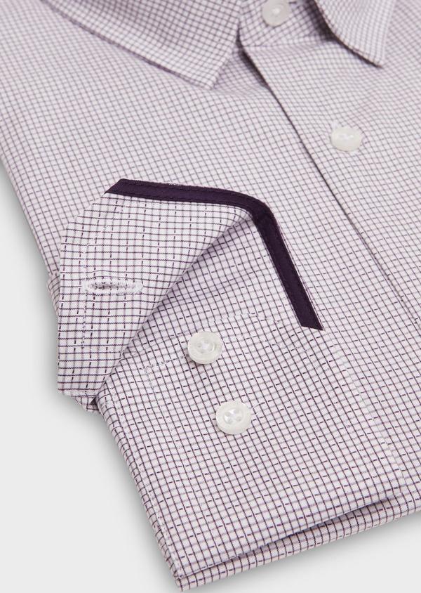 Chemise habillée Slim en popeline de coton violet à motif fantaisie - Father and Sons 26210