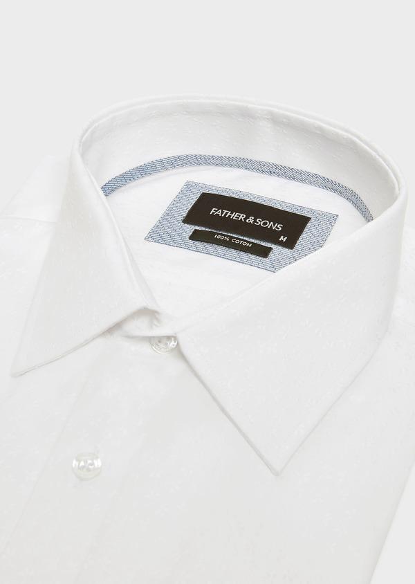 Chemise habillée Slim en coton blanc façonné à motif fleuri ton-sur-ton - Father and Sons 32416